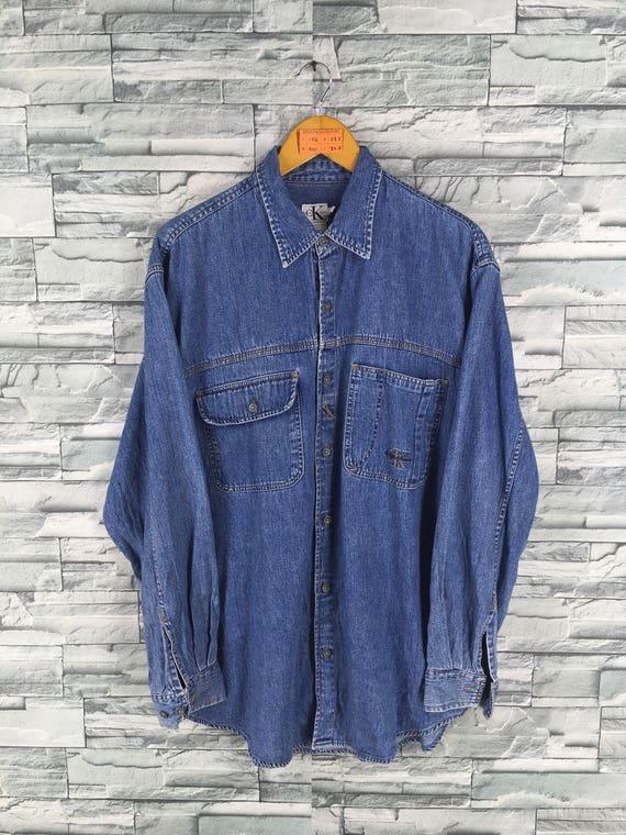 L XL Calvin Klein Jeans Men's Chambray Shirt CK Denim Shirt Men's Work Shirt Blue Jeans Shirt 1980s 1990s Blue Casual Shirt Large Oversize KG9TLLts