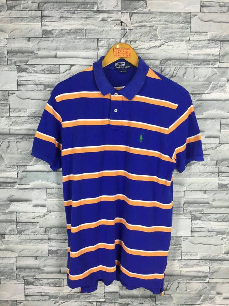 13dd45544 Vintage Polo RALPH LAUREN Striped Shirt Men Large Ralph Lauren