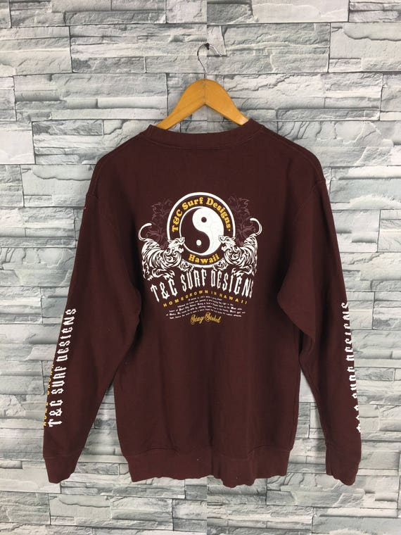 T C SURF Design Men Large Jumper Burgundy Crewneck Vintage  8dd272b8bde