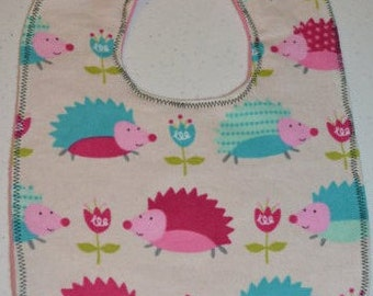 Polka Dot Hedgehogs - flannel bib