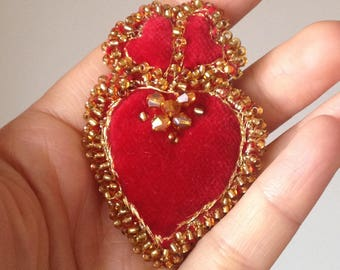 Red Velvet Heart. Brooch. Folk Heart.