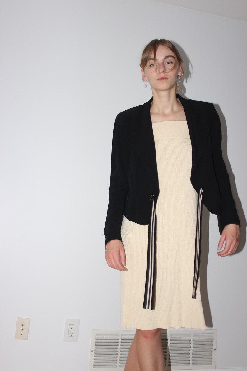 Sonia Rykiel black /& cream blazer with front tie THE BUSY STUDIO size 44 medium