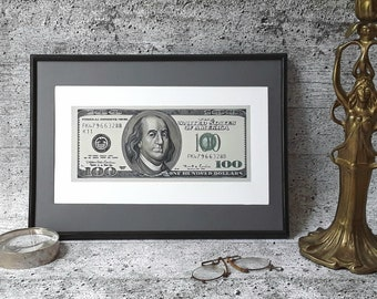 4th of July gift Money painting wall art 100 bucks one hundred dollars Benjamin Franklin portrait original painting