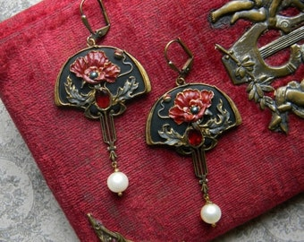Art nouveau poppy polymer clay jewelry poppies earrings art deco opium poppy  jewelry William Morris Art Deco poppy night