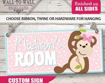 Monkeys Kids Door Sign Personalized Room Plaque Custom Name