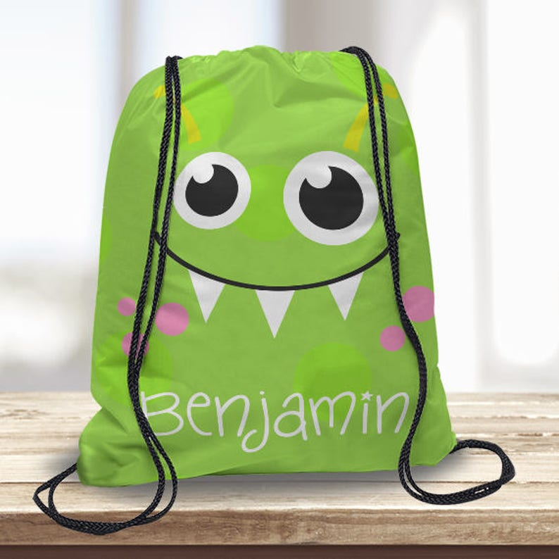 e7891c386a Cute Green Monster Kids Personalized Drawstring Backpack Boys | Etsy