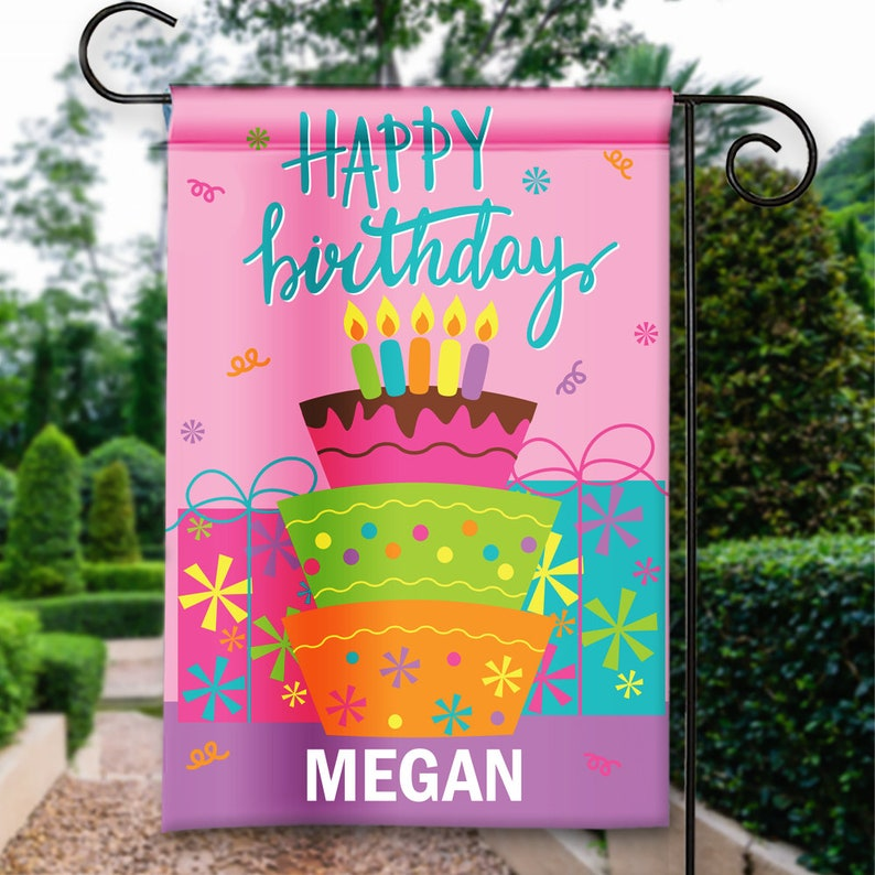 Happy Birthday Girls Kids Pink Cake Presents Party Flags Etsy