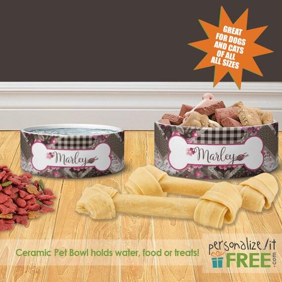 pink patchwork personalized dog cat ceramic pet food bowl etsy