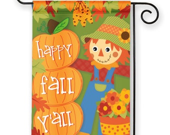 Happy Fall Y'all! Cute Scarecrow & Pumpkins Fall Autumn Thanksgiving Holiday Garden Flag Yard Sign Banner Decor Decoration