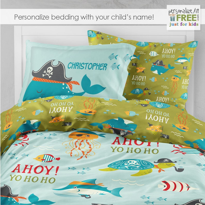 sports shoes 92719 7ec5c Pirate Bedding, Boys Room, Kids Bedding, Toddler Bedding Set, Twin  Comforter, Ahoy Matey, Full Duvet Cover, Personalized, Pillowcase Decor