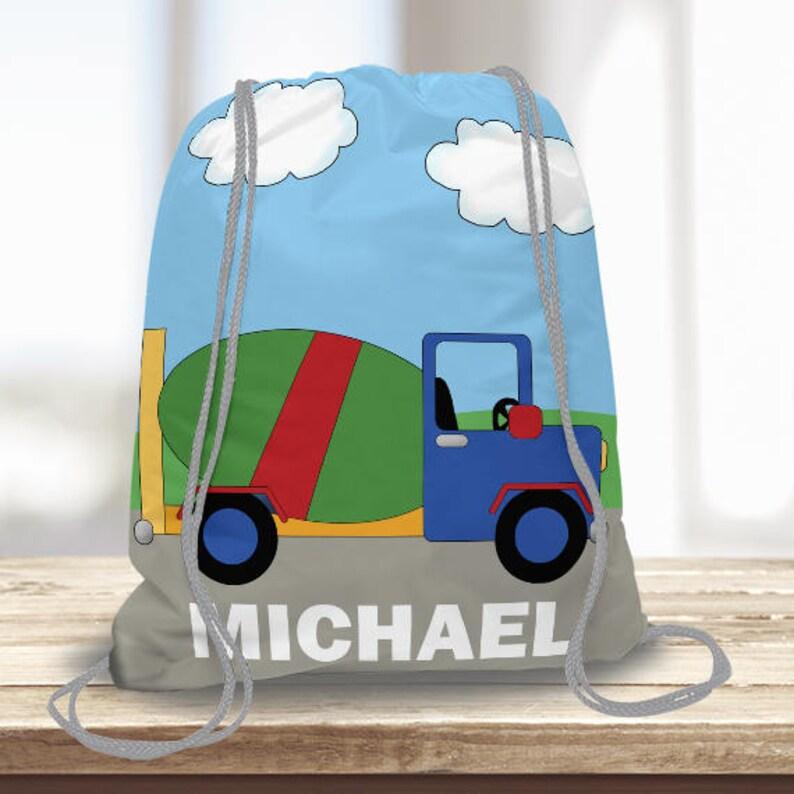 Construction Cement Truck Kids Personalized Drawstring Backpack Sports Bag Custom w Name Boys Swim Tote Bag Beach Towel Bag Camp Bag