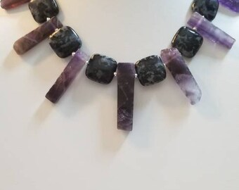 Mystic Merlinite The Healer/'s Trifecta Egyptian Style Collar Necklace Obsidian Super 7