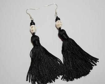 White Skull, Black Bead and Black Tassel Earrings, Gothic, Alternative, Statement Jewellery,