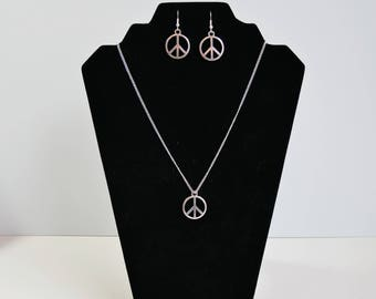 Silver Plated Peace Sign Symbol Matching Earring and Necklace Set