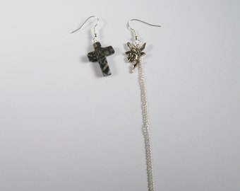 Mismatched Earrings With Off Black and Grey Marbled Stone Cross and Fairy and Chain French Hook Earrings Punk Rock Metal Boho Alt Fashion