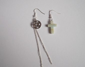 Mismatched Earrings  With Off White Marbled Cross and Pentagram and Chain French Hook Earrings Punk Rock Metal Boho Alt Fashion