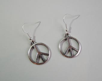 Silver Plated Peace Sign Symbol Dangle Drop Earrings