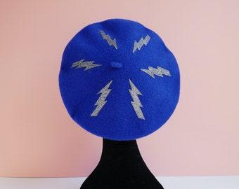 Royal Blue Beret with Gun Metal Glitter Lightning Bolt Motifs, Alternative, Accessories, Hats,