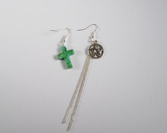 Mismatched Earrings  With Off Speckled Green Stone Cross and Pentagram and Chain French Hook Earrings Punk Rock Metal Boho Alt Fashion