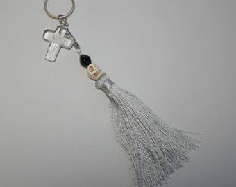 Skull and Silver Tassle Keyring with Clear Glass Cross Charm, Accessories, Keyrings, Zipper Charms,