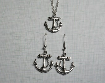 Silver Tone Anchor Earrings and Necklace Set, Nautical, Retro,