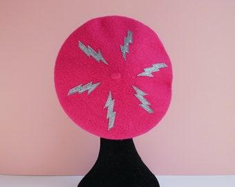 Bright Pink Beret with Gun Metal Glitter Lightning Bolt Motifs, Alternative, Accessories, Hats,