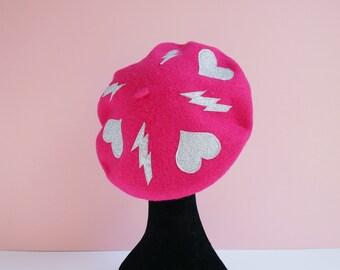 Bright Pink Beret with Silver Glitter Heart and Lightning Bolt Motifs, Alternative, Accessories, Hats,