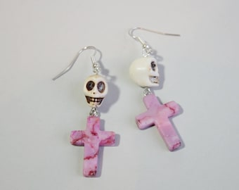 White Skull With Marbled Pink Stone Cross Charm Earrings