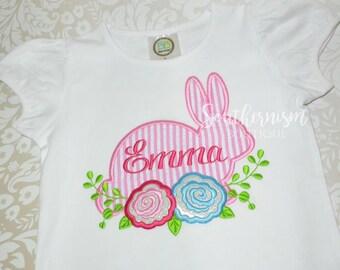 Girls Easter Shirt, Monogram Easter, Personalized Easter, Easter Shirt, Seersucker Easter, First Easter, Easter shirt with name, Girls