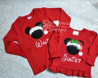 Christmas Shirt, Personalized Christmas Shirt, Sibling Christmas Shirt, Christmas Vacation, Mouse Christmas, Girls Chrstimas Shirt, Boys
