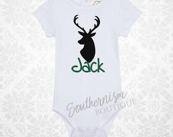 Personalized Deer Shirt, Antlers Shirt, Deer Silhouette, boys deer, boys hunting