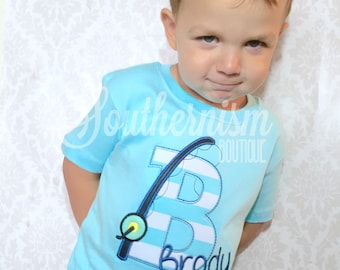 Boys Custom Shirt, Custom Outfit, Outfit with name, shirt with name, fishing shirt, Birthday Fishing Shirt, with letter fishing pole & name!