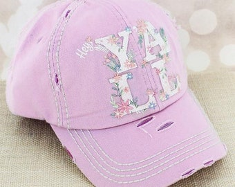 Distressed Ball Cap, Hey Y'all Hat,southern hat, beach hat, funny hat, river hat, womens hat, gift for friend, Pool Hat, funny