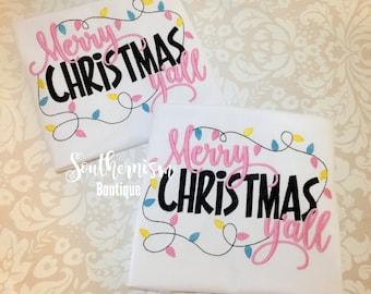 Christmas Shirt, Girls Christmas,  little miss Shirts, Merry Christmas Yall Shirts, Funny Christmas Shirt, Custom, Personalized Chritmas