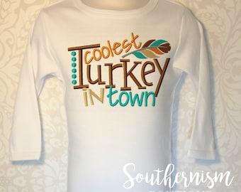 Thanksgiving Shirt, Turkey Day Shirt, Personalized Thanksgiving, Fall Shirt, Turkey, Coolest Turkey in Town, boys thanksgiving, baby boy