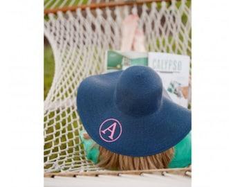 Monogram Sun Hat, Monogram Beach Hat, Floppy Hat, Straw Hat, Monogram Floppy Hat, navy Hat, Ladies beach hat, personalized hat, cruise hat