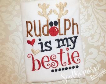 Christmas Shirt, Sibling Christmas, Embroidery, Rudolph Best, Reindeer shirt, Personalized, Monogram, Boys Christmas, Girls Christmas