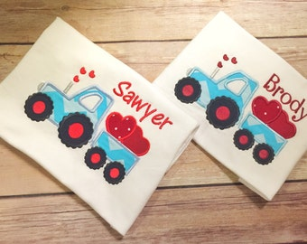 Valentine Day Shirt, Boy Valentines Day, Tractor Valentines Day Shirt, Chevron Valentines Day, Boys Valentine Shirt