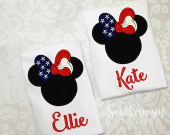 Girls 4th of July Shirt, Mouse, Vacation, 4th of July, Fourth of July shirt, patriotic shirt, personalized 4th shirt, monogram, mouse head