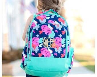 Personalized Backpack, girls Backpack, floral , flower backpack, backpack with name, preschool, elementary, middle, custom,monogram backpack