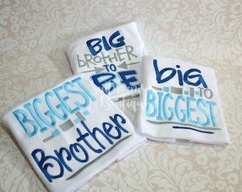Big Brother shirt, Middle Brother Shirt, Baby announcement, sibling announcement, big to biggest brother, Sibling Shirts, coming soon, baby