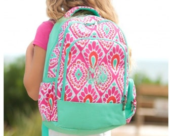 Personalized Backpack, girls Backpack,pink and mint, paisley backpack, backpack with name, preschool, elementary, middle, custom,monogram ba