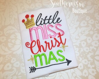 Girls Christmas Shirt, Girls Christmas,  little miss Shirts, little miss Christmas Shirts, Funny Christmas Shirt, Custom, Personalized Chrit