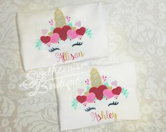 Girls Valentine Day Shirt, Unicorn Shirt, Valentine Day, Baby Valentines Day, Unicorn valentines Day, Love Kisses and Valentine Wishes Shirt
