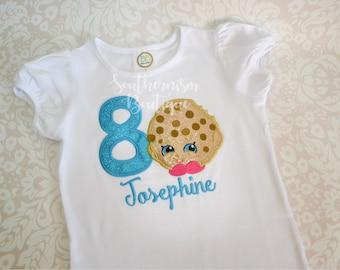 Shopkin Birthday Shirt, Girls Birthday Shirt, Shopkin Shirt, Shopkin gift, Shopkin outfit, Shopkin with Name, Kooky Shirt, Shopkin Cookie