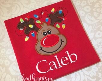 Boys Christmas Shirt, Reindeer Shirt, applique Christmas shirt, Embroidered Christmas Shirt, Personalized Christmas, Monogram Christmas