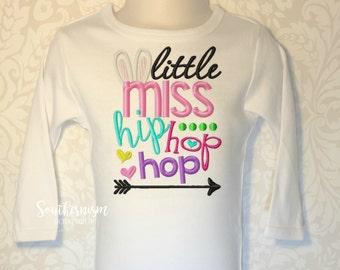 Easter Shirt, Girls Easter Shirt, Monogram Easter Shirt, Little miss Hip hop hop! Personalized Easter Shirt, Sibling Easter