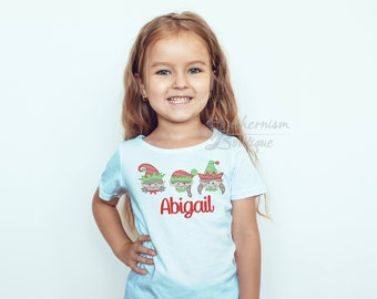 Girls Christmas Shirt, Personalized Shirt, Elf Shirt, Vintage Christmas, Monogram Shirt, Monogram Christmas, shirt with name, sibling shirts