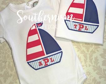 Nautical Shirt, Boat Shirt, Boys 4th of July, 4th of July Shirt, Personalized, Monogram, Sailboat, Seersucker, Patriotic Shirt, beach, boat