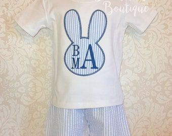 Boys Easter Shirt, Easter Shirt, shorts, Monogram Easter Shirt, Seersucker Outfit, Seersucker shorts, Personalize Easter Shirt, baby 1st
